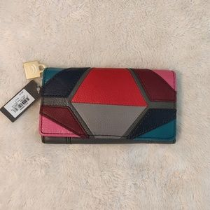 🌼Fossil Molly Multi Color Leather RFID Wallet NWT